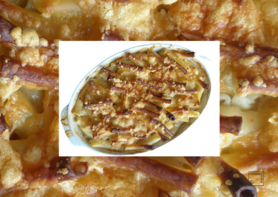 Macaronis croustillants au gruyère et laurier-sauce