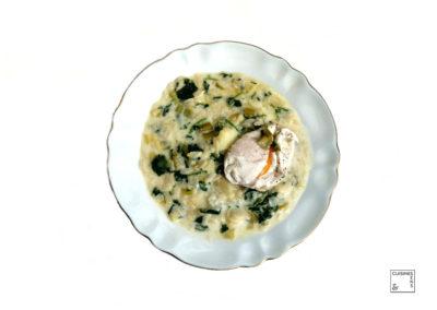 Minestrone de poireaux, cresson et estragon