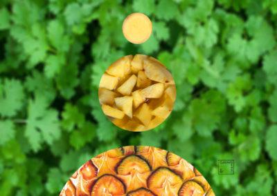 Ananas frais frappé à la coriandre et au gingembre