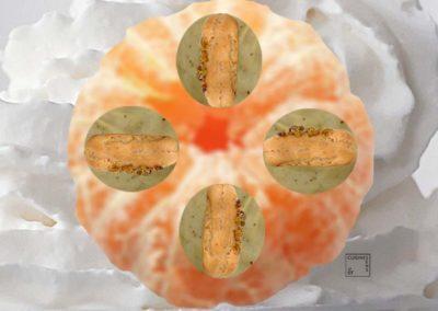 Eclairs pistache sur mandarine givrée chantilly