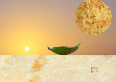 Gratin de macaronis croustillants au basilic et parmesan